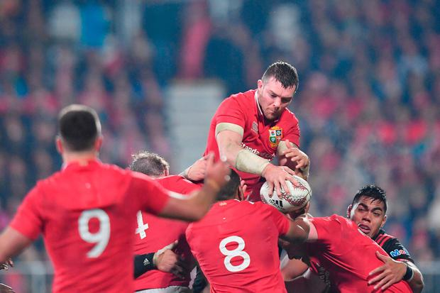 Peter O'Mahony rises to win a lineout during yesterday's match between the Crusaders and the Lions at AMI Stadium in Christchurch. Photo: Kai Schwoerer. Photo: Kai Schwoerer/Getty Images