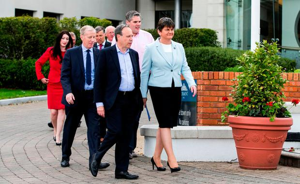 Arlene Foster pictured with newly-elected DUP MPs. 'One of the DUP demands appears to be that no special status would be entertained for Northern Ireland during Brexit talks.'