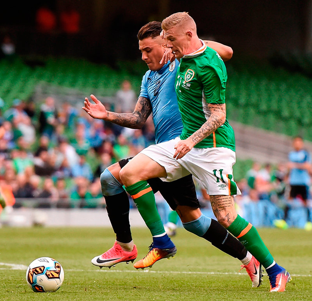 James McClean, pictured here in action against Uruguay's Jose Gimenez, could be called on to provide a goal threat due to Ireland's shortage of strikers. Photo: Sportsfile