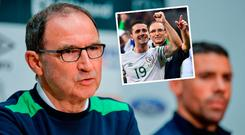 Martin O'Neill speaking to the press and (inset) with Robbie Brady after beating Italy in Lille