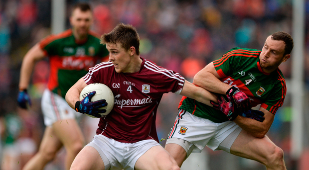 18 June 2016; David Wynne of Galway in action against Keith Higgins of Mayo during the Connacht GAA Football Senior Championship Semi-Final match between Mayo and Galway at Elverys MacHale Park in Castlebar, Co Mayo. Photo by Daire Brennan/Sportsfile