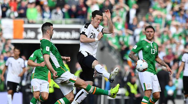 DUBLIN, IRELAND - JUNE 11: Shane Duffy (L) of Republic of Ireland and Michael Gregoritsch (C) of Austria during the FIFA 2018 World Cup Qualifier between Republic of Ireland and Austria at Aviva Stadium on June 11, 2017 in Dublin. (Photo by Charles McQuillan/Getty Images)