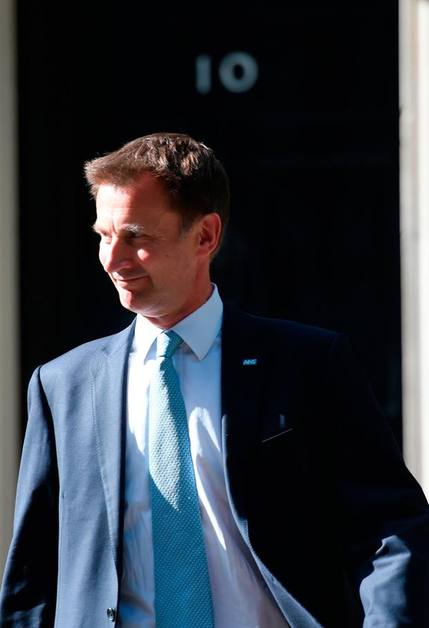 Jeremy Hunt, who has been reappointed as Health Secretary, leaves 10 Downing Street in London. PRESS ASSOCIATION Photo. Picture date: Sunday June 11, 2017. See PA story POLITICS Reshuffle. Photo credit should read: David Mirzoeff/PA Wire