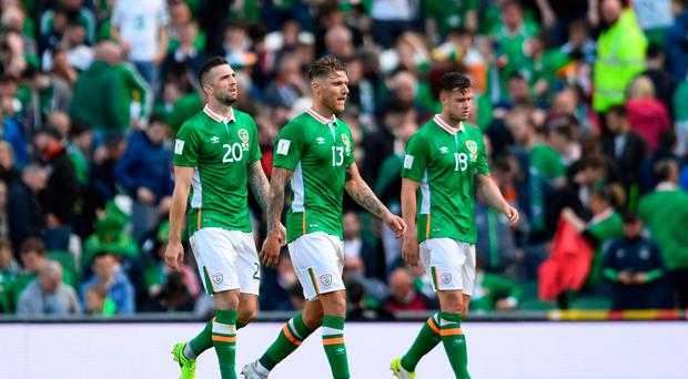 Football Soccer - Republic of Ireland v Austria - 2018 World Cup Qualifying European Zone - Group D - Aviva Stadium, Dublin, Republic of Ireland - June 11, 2017 Republic of Ireland's Shane Duffy (L), Jeff Hendrick (C) and Kevin Long (R) walk off the pitch at half time Action Images via Reuters / Tony O'Brien Livepic EDITORIAL USE ONLY.