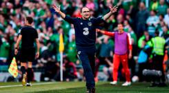 Republic of Ireland manager Martin O'Neill reacts during the FIFA World Cup Qualifier Group D match between Republic of Ireland and Austria at Aviva Stadium, in Dublin. Photo by Seb Daly/Sportsfile