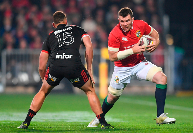 Peter O'Mahony of the British & Irish Lions in action against Israel Dagg of Crusaders. Photo by Stephen McCarthy/Sportsfile