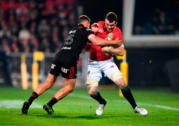 Peter O'Mahony of the British & Irish Lions is tackled by Israel Dagg of Crusaders. Photo by Stephen McCarthy/Sportsfile