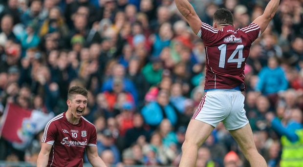 Johnny Heaney, left, and Damien Comer of Galway celebrate at the full time whistle after yesterday's victory over Mayo in the Connacht SFC semi-final. Photo: Sportsfile