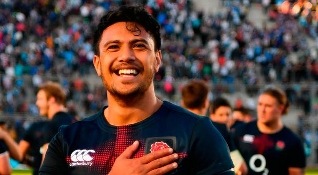 Denny Solomona celebrates after securing a last-minute victory for England against Argentina at Estadio San Juan del Bicentenario in San Juan. Photo by Dan Mullan/Getty Images