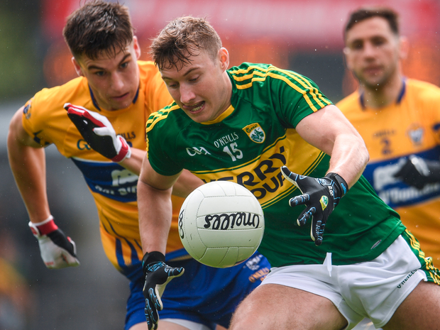 Kerry's James O'Donoghue in action against Clare's Shane Brennan. Photo: Sportsfile