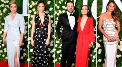(L to R) Scarlett Johansson, Anna Kendrick, Jason Sudeikis and Olivia Wilde and Chrissy Teigen at the 2017 Tony Awards