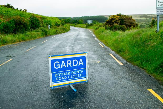 Garda closure in Glencree, Wicklow after human remains are discovered. Photo: Kyran O'Brien