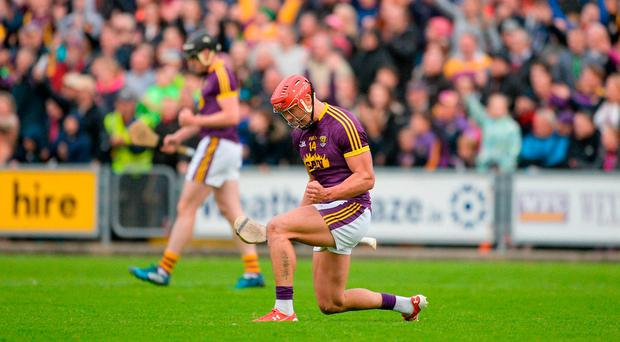 Lee Chin of Wexford celebrates near the end of the Leinster GAA Hurling Senior Championship Semi-Final match between Wexford and Kilkenny at Wexford Park in Wexford. Photo by Daire Brennan/Sportsfile