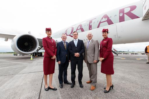 Flanked by Qatar Airways cabin crew as the carrier's first Doha-Dublin service touched down were Tourism Ireland CEO Niall Gibbons; Qatar Airways SVP Europe Jonathan Harding; and Dublin Airport MD Vincent Harrison.
