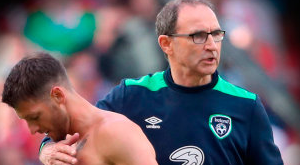 Hoolahan pictured with Ireland manager Martin O'Neill at the end of the game. Photo: PA Wire
