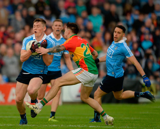 Dublin's Con O'Callaghan tries to get past Carlow's Shane Clarke in their Leinster SFC quarter-final at O'Moore Park, Portlaoise. Photo: Sportsfile