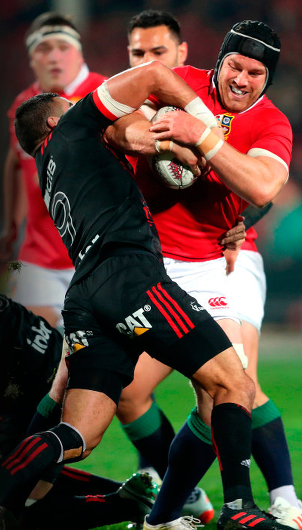 British and Irish Lions' Seán O'Brien in action against the Crusaders during the tour match at the AMI Stadium, Christchurch on Saturday. Photo: PA Wire