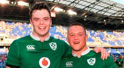 Ireland's James Ryan, left, and Andrew Porter following their international debut in the Red Bull Arena, Harrison, New Jersey, USA. Photo: Ramsey Cardy/Sportsfile