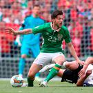Harry Arter in action for the Republic of Ireland during their World Cup qualifier against Austria on Sunday. Photo: PA