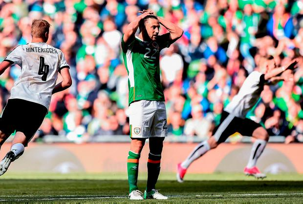 Harry Arter reacts to the visitors' first-half goal. Photo: Seb Daly/Sportsfile