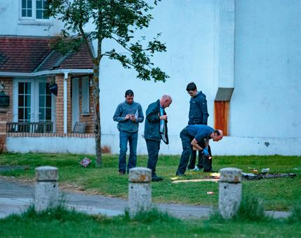 Gardai investigate an incident at Shangan Green in Ballymun. Picture: Arthur Carron
