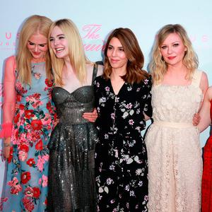 (L-R) Actors Nicole Kidman, Elle Fanning, writer/director Sofia Coppola and actors Kirsten Dunst and Emma Howard attend the premiere of Focus Features'