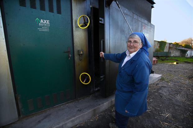 Sr. Lily Scullion, is the main farmer at St. Marys Abbey, Glencairn, the monastery installed an environmental and fuel efficent Axe Biotech straw boiler to heat the building and living quarters, 3 bails a day usually heats the monastery, as the nuns rise at 3.45am each morning.Photo:Valerie OSullivan