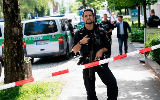 Police block a street near a subway station in Munich, Germany. Picture: Sven Hoppe/dpa via AP