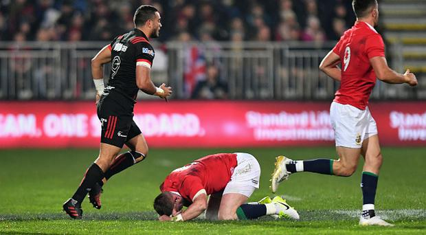 CHRISTCHURCH, NEW ZEALAND - JUNE 10: Stuart Hogg of the Lions lies on the pitch during the match between the Crusaders and the British & Irish Lions at AMI Stadium on June 10, 2017 in Christchurch, New Zealand. (Photo by Kai Schwoerer/Getty Images)