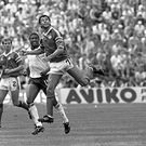 Paul McGarth in action during the Ireland v England game in the European Championship Finals at Stuttgart on 12 June 1988. (Part of the Independent Newspapers Ireland/NLI Collection)