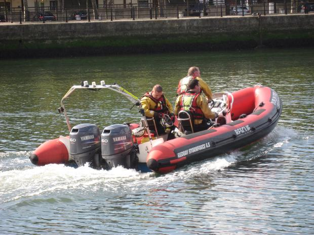 The man was rescued from the River Liffey by members from Dublin Fire Brigarde. Photo: Dublin Fire Brigade