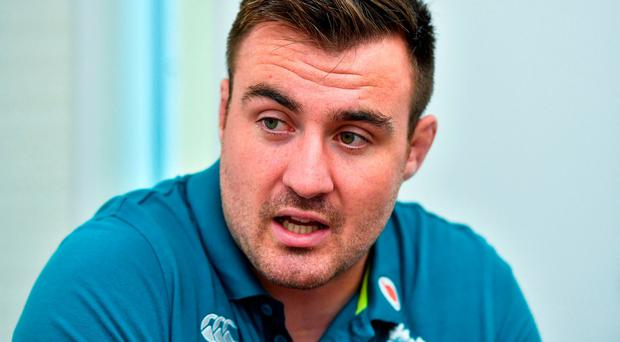 Niall Scannell during an Ireland Rugby Press Conference at Relo no Kaigishitsu in Tokyo, Japan. Photo: Brendan Moran/Sportsfile