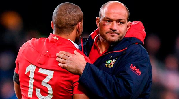 Rory Best and Jonathan Joseph of the British and Irish Lions following their defeat to the Highlanders at Forsyth Barr Stadium in Dunedin, New Zealand. Photo: Stephen McCarthy/Sportsfile