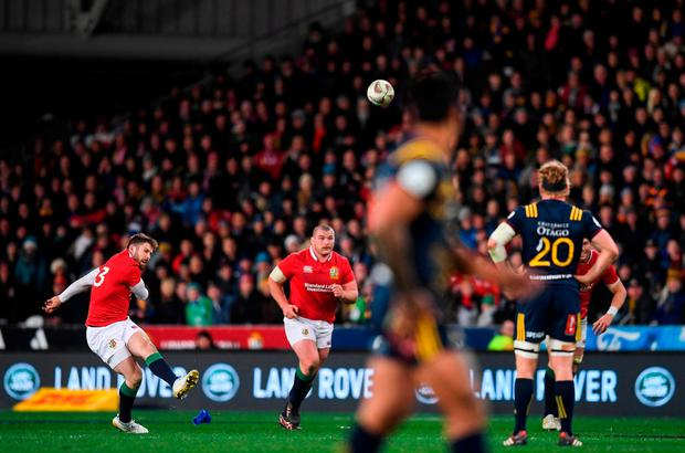 Elliot Daly kicks a penalty for the Lions. Photo: Stephen McCarthy/Sportsfile