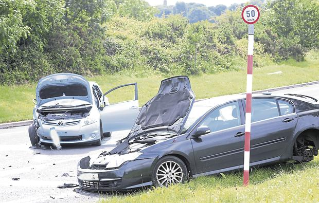 Scene of the two-car accident on the Condell Road, Limerick, which claimed the life of a man in his 70s. Photo: Press 22.