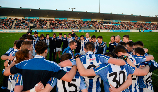 Andy McEntee speaks to his Ballyboden St Enda's side before the 2015 Dublin SFC final against St Vincent's in Parnell Park. Picture credit: Dáire Brennan / Sportsfile