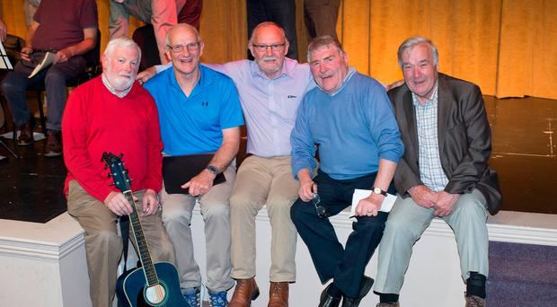 Hitting the right notes: Joe Kelly, Liam Stapleton, Ray McEvoy, John Farrell and Michael Feely of Mountmellick Men's Shed. Photo: Alf Harvey