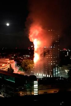 Picture taken with permission from the Twitter feed of Natalie_Oxford showing fire engulfing the 27-storey Grenfell Tower in west London. PRESS ASSOCIATION Photo. Picture date: Wednesday June 14, 2017. See PA story FIRE Tower. Photo credit should read: Natalie_Oxford/PA Wire