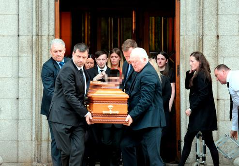 14 Jun 2017; General view of coffin being carried from church after funeral of Michael Keogh. St. Francis Xavier Church. Gardiner Street, Dublin.