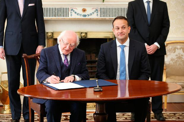 President Michael Higgins and Taoiseach Leo Varadkar Credit: Steve Humphries