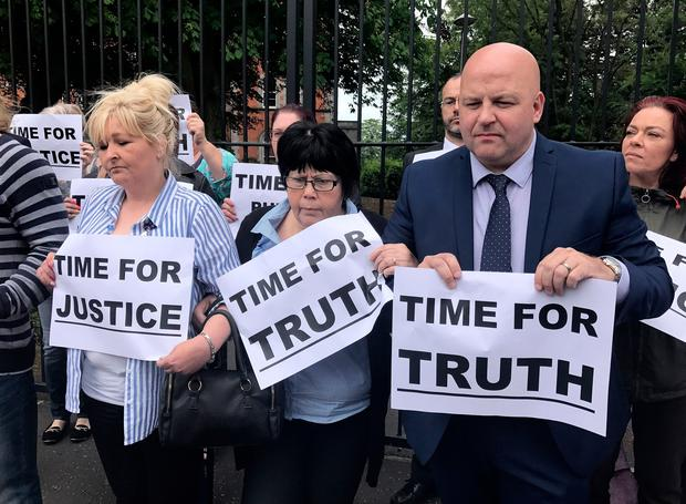 (From the left) Teresa Bell, Oonagh McAleer and Eunan Duffy joining campaigners from Birth Mothers and their Children for Justice NI protest for justice outside the former Good Shepherd Laundry and Mother & Baby Home on Belfast's Ormeau Road. Picture date: Wednesday June 14, 2017. Photo: Deborah McAleese/PA Wire