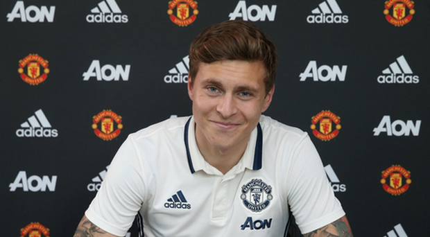 New Manchester United defender Victor Lindelof. Source: Manchester United Twitter.
