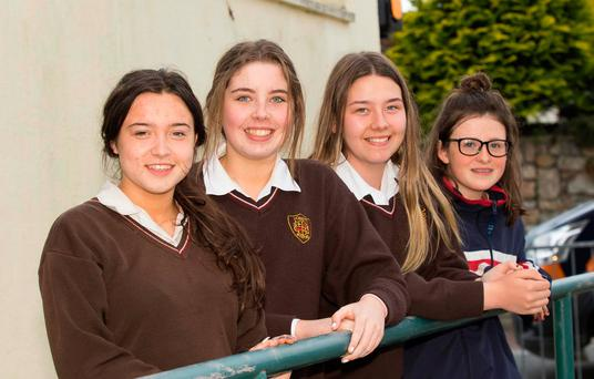 Junior Cert exam students at Loreto Secondary School, Wexford: Jessie Egan, Carrig-on-Bannow, Co Wexford, Katelyn Conroy, Rosslare, CoWexford, Katelyn Clowrey, Wexford, and Ellen Berry, Tomhaggard, Co Wexford. Photo: Mary Browne