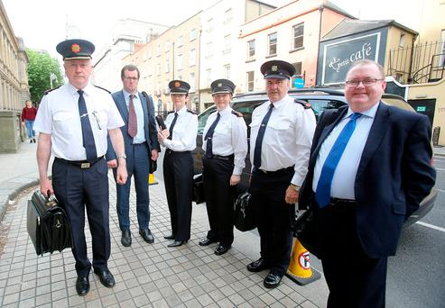 Deputy Gda Commissioner Donal O Cualain; Barry McGee of the Garda Finance Unit; Asst Cmmr Anne-Marie McMahon; Chief Supt Margaret Nugent; Supt Pat McCabe; Garda chief administrative officer Joe Nugent arrive for the PAC hearing. Photo: Tom Burke