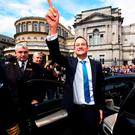 Taoiseach Leo Varadkar waves to TDs and well wishers at Leinster House. Photo: Getty