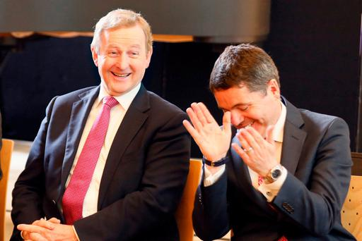 Outgoing Taoiseach Enda Kenny and Finance Minister Paschal Donohoe at the reopening of the National Gallery. Photo: Kieran Harnett