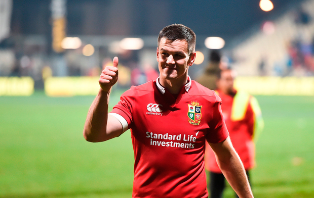 Johnny Sexton of the British & Irish Lions celebrates after the match against Crusaders