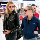 (L-R) Model Stella Maxwell and actress Kristen Stewart are spotted at Orly airport on June 14, 2017 in Paris, France. (Photo by Marc Piasecki/GC Images)