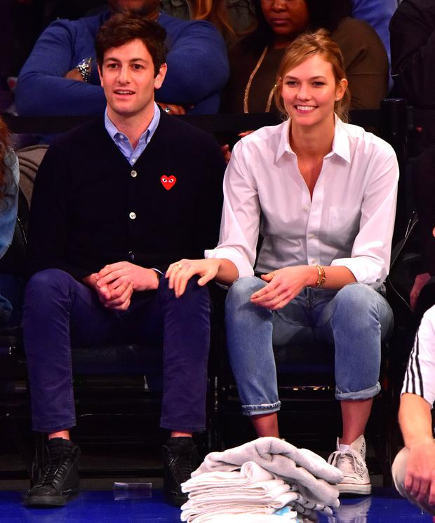 Joshua Kushner and Karlie Kloss attend the Cleveland Cavaliers vs New York Knicks game at Madison Square Garden on March 26, 2016 in New York City. (Photo by James Devaney/GC Images)