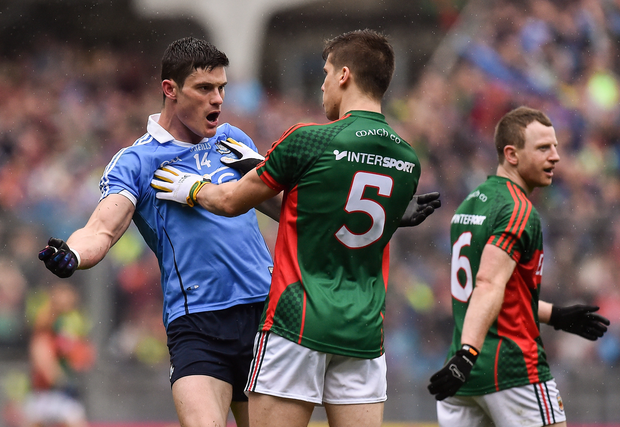 Diarmuid Connolly of Dublin and Lee Keegan of Mayo clash during the GAA Football All-Ireland Senior Championship Final match between Dublin and Mayo at Croke Park in Dublin. Photo by David Maher/Sportsfile